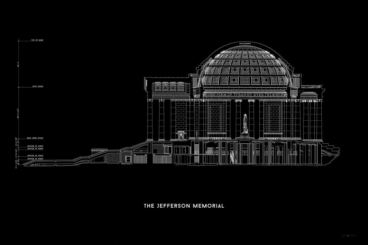 The Jefferson Memorial West Elevation Cross Section - Black -