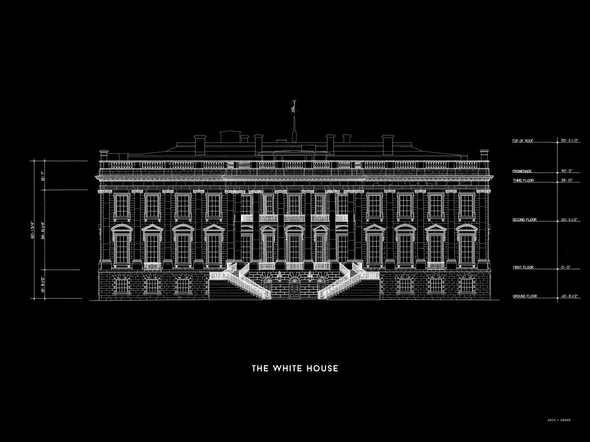 The White House South Elevation - Black -