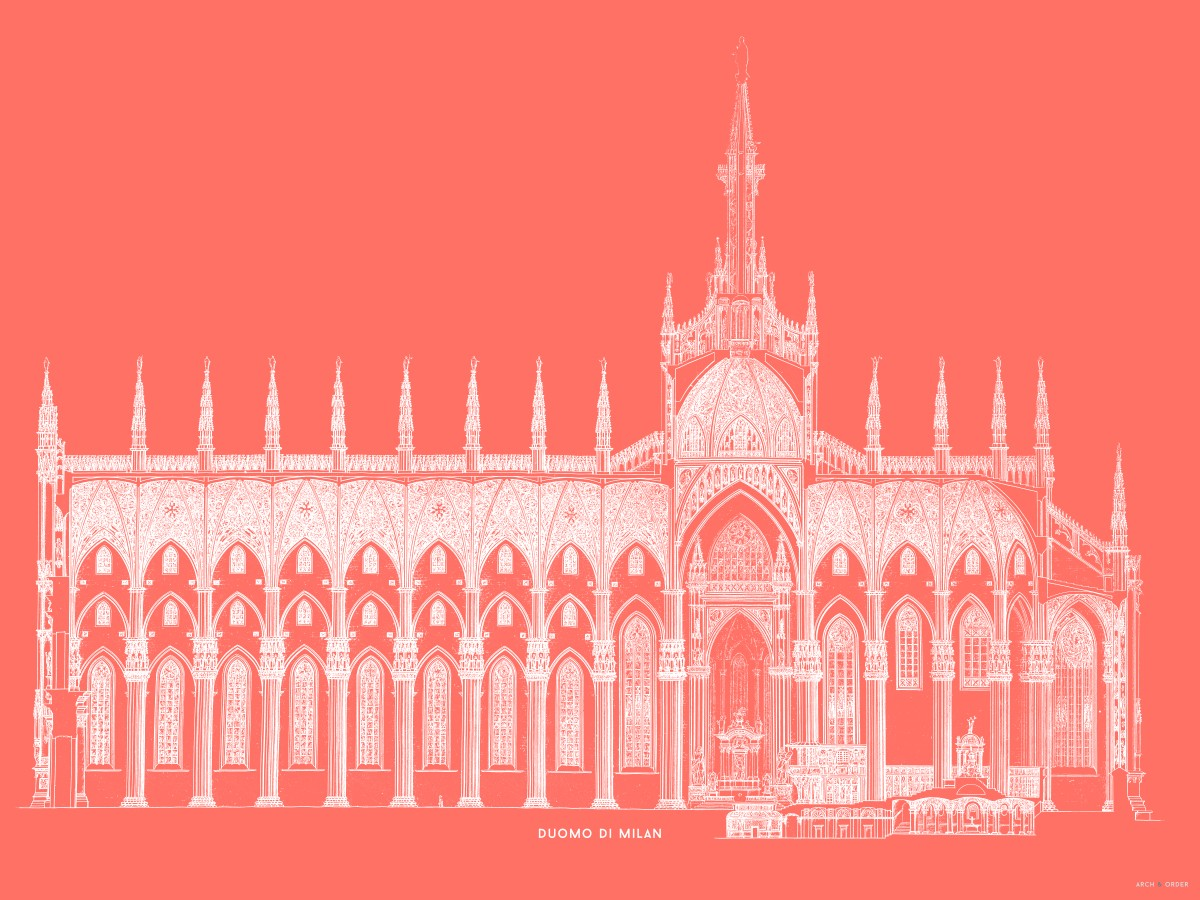 The Milan Cathedral - Side Elevation Cross Section - Red -