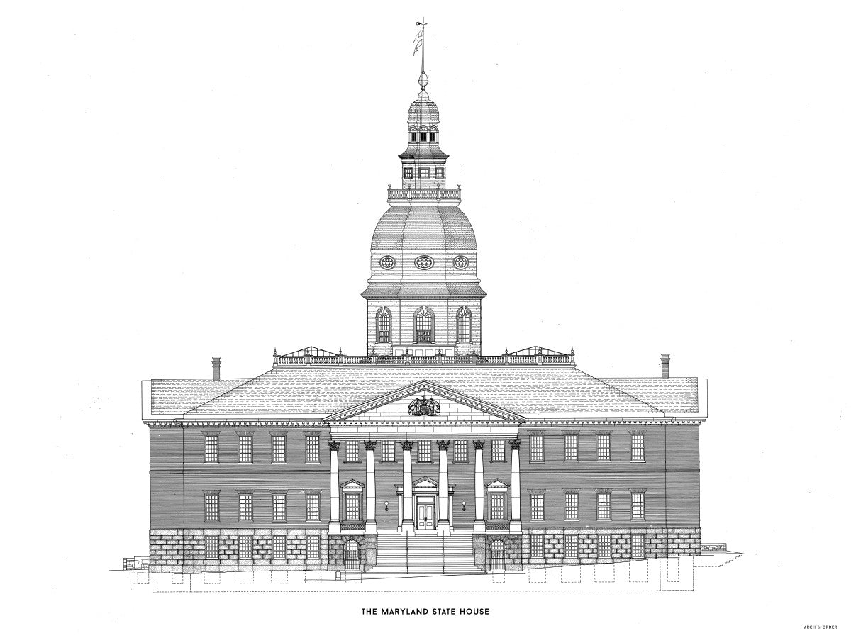 The Maryland State House - Northwest Elevation - White -