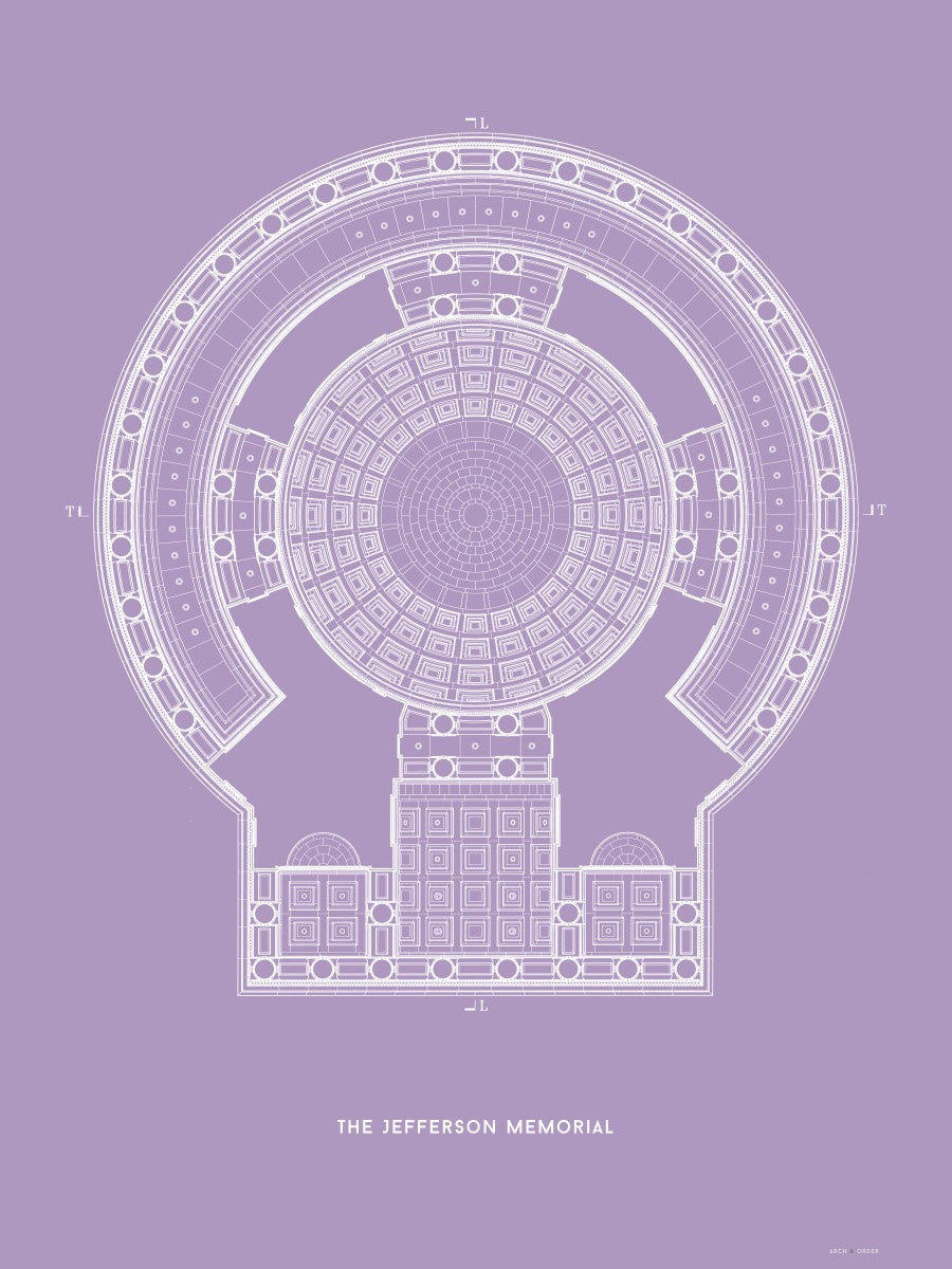 The Jefferson Memorial Reverse Ceiling Detail - Lavender -
