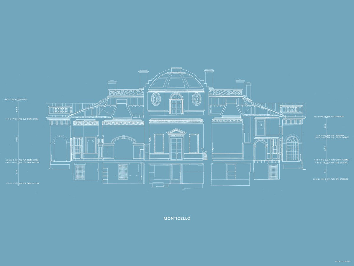 Monticello - West Elevation Cross Section - Blue -