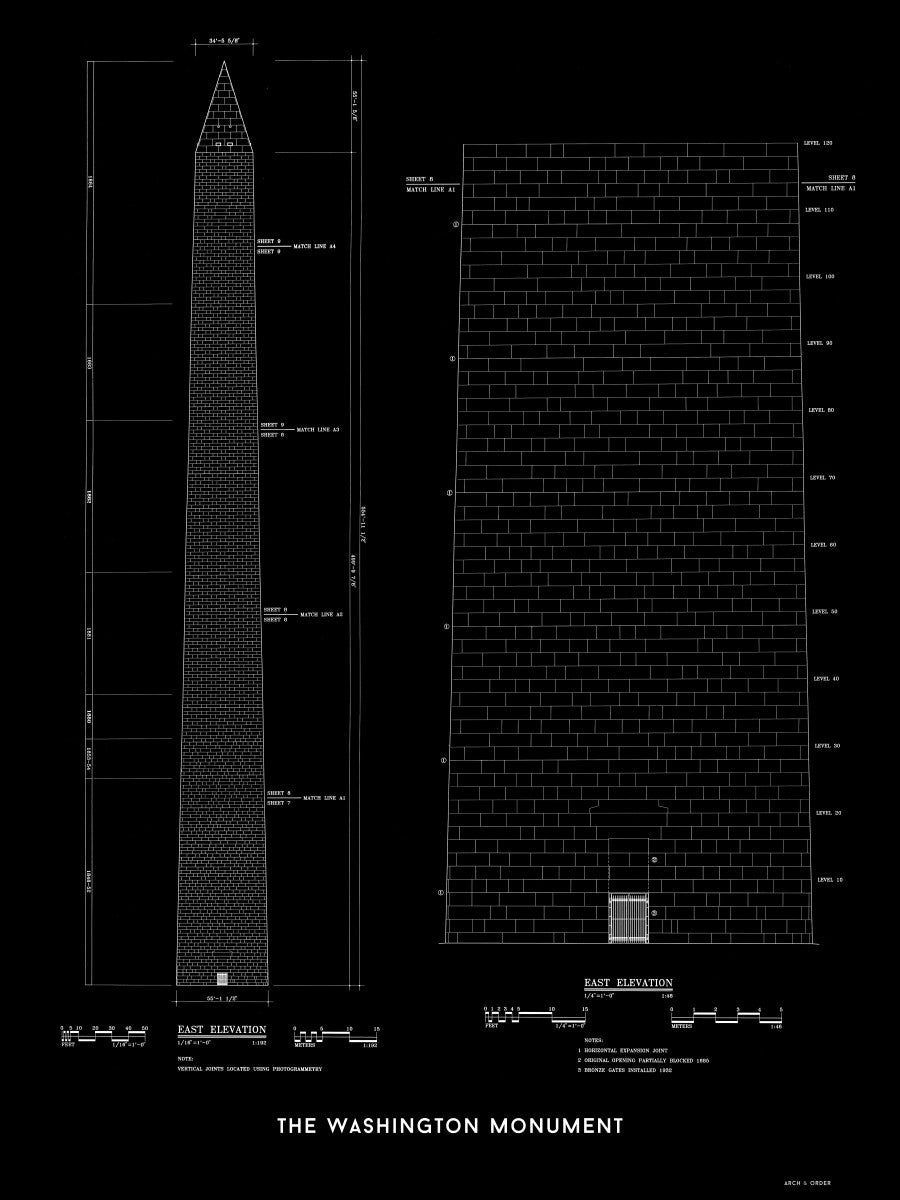 The Washington Monument East Elevation - Black -