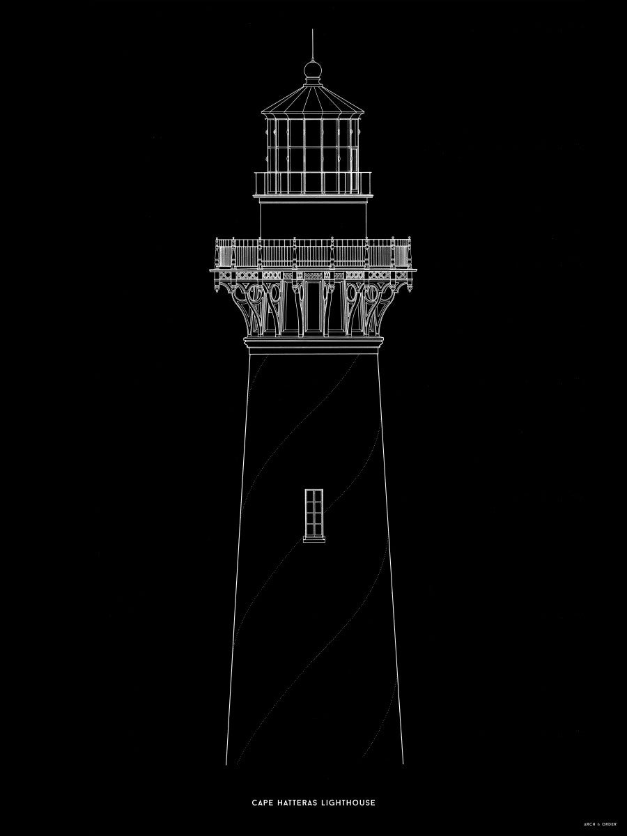 Cape Hatteras Lighthouse - North Elevation Detail - Black -