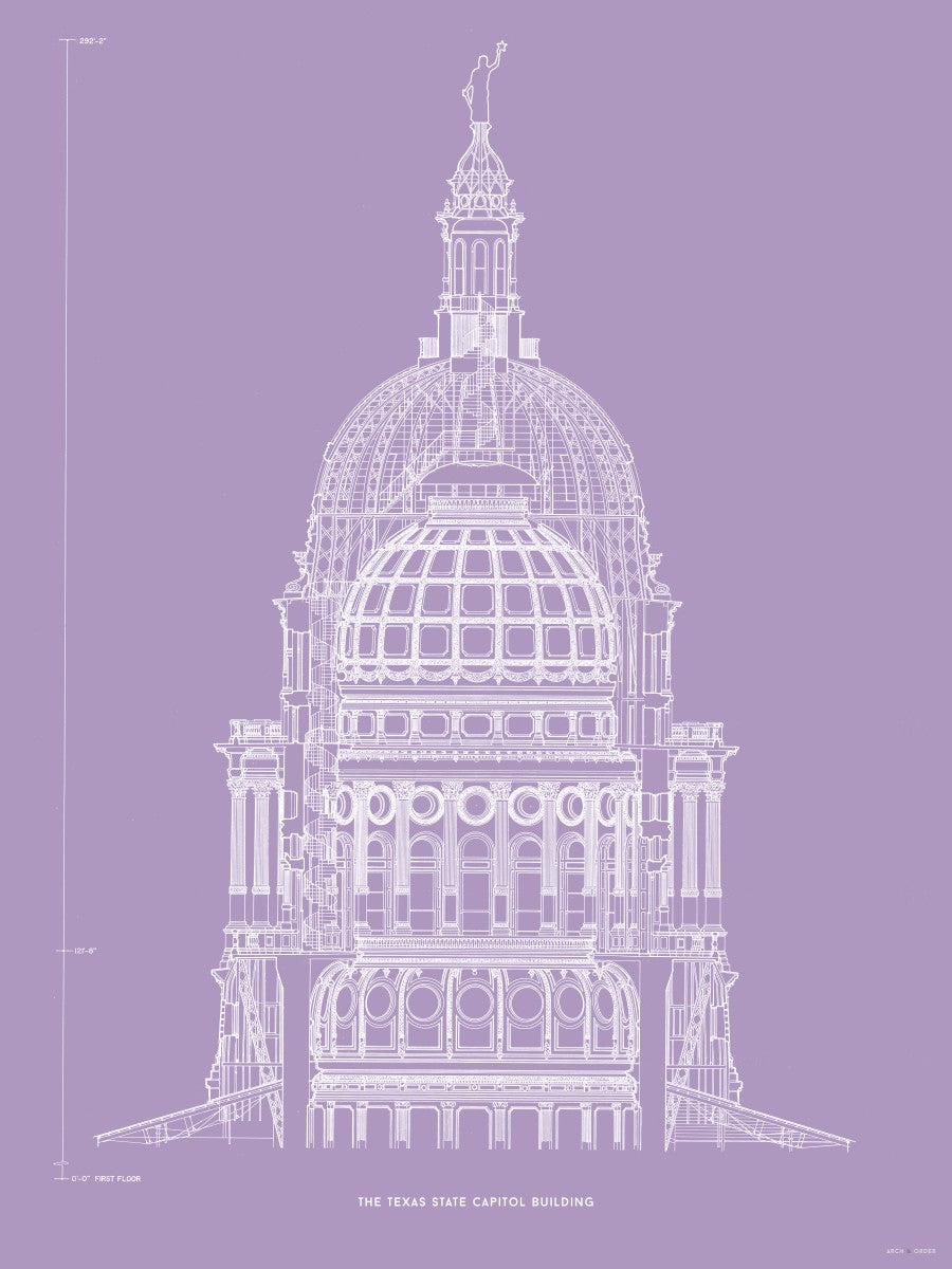 The Texas State Capitol Building - Dome Cross Section - Lavender -