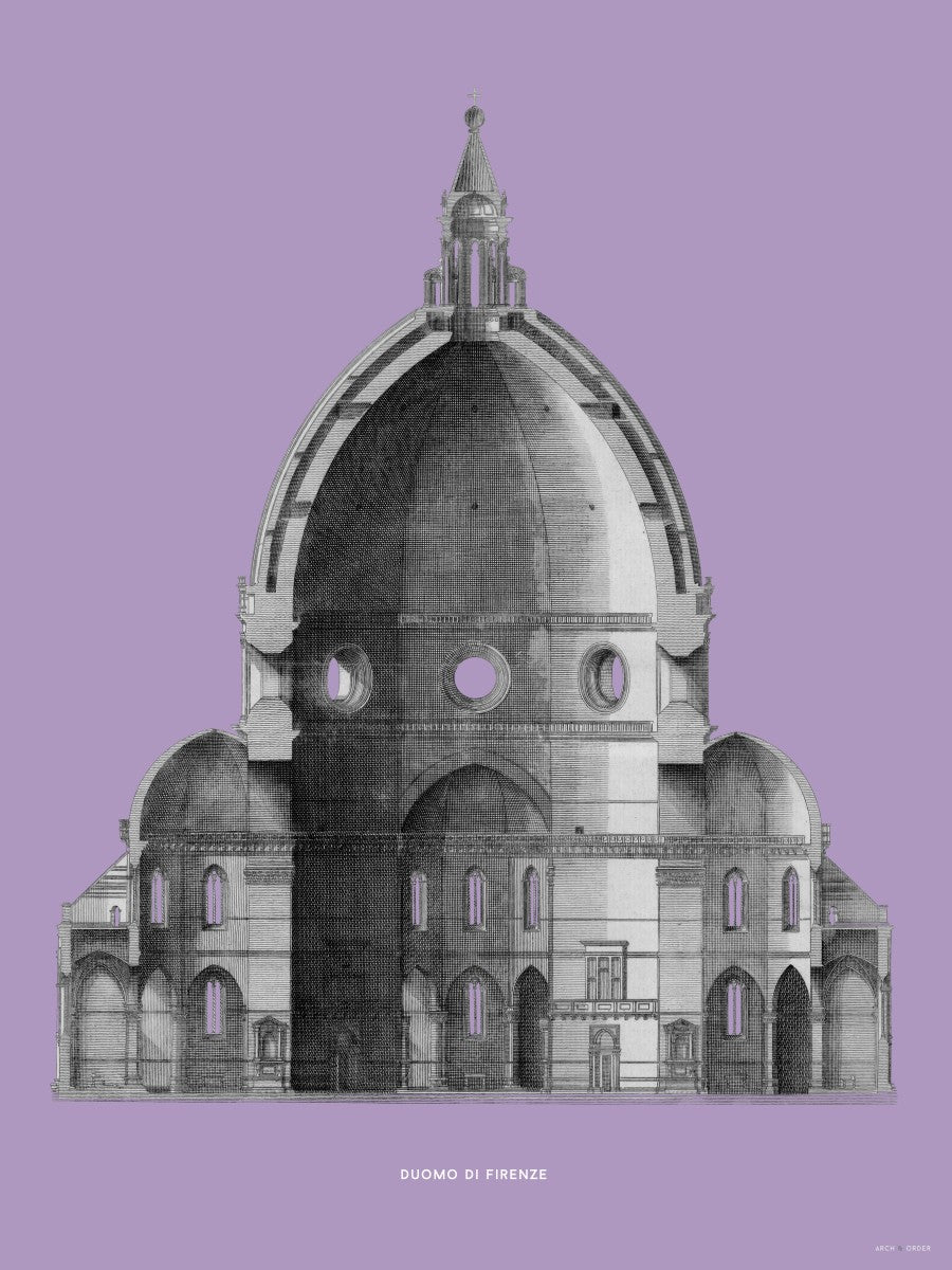 Duomo di Firenze - Primary Elevation Cross Section - Lavender -