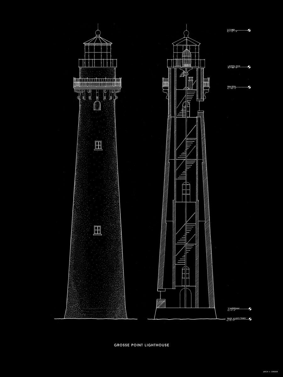 Grosse Point Lighthouse - East Elevation and Cross Section - Black -