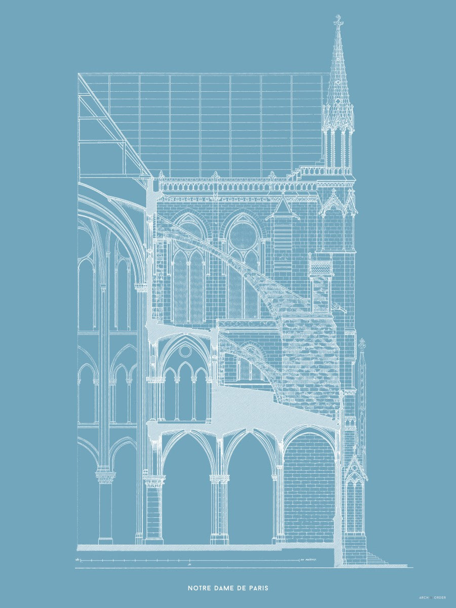 Notre Dame de Paris - Buttress Cross Section - Blue -