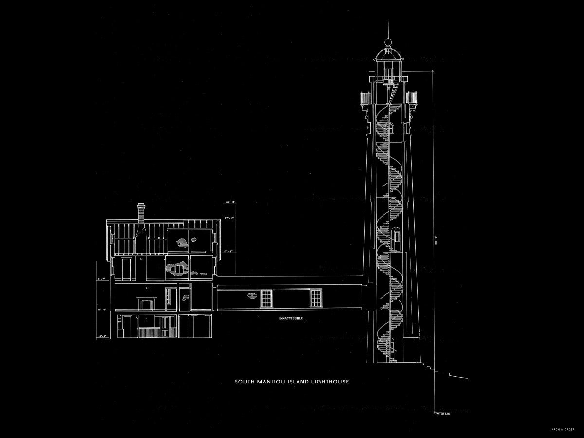 South Manitou Island Lighthouse - Cross Section - Black -