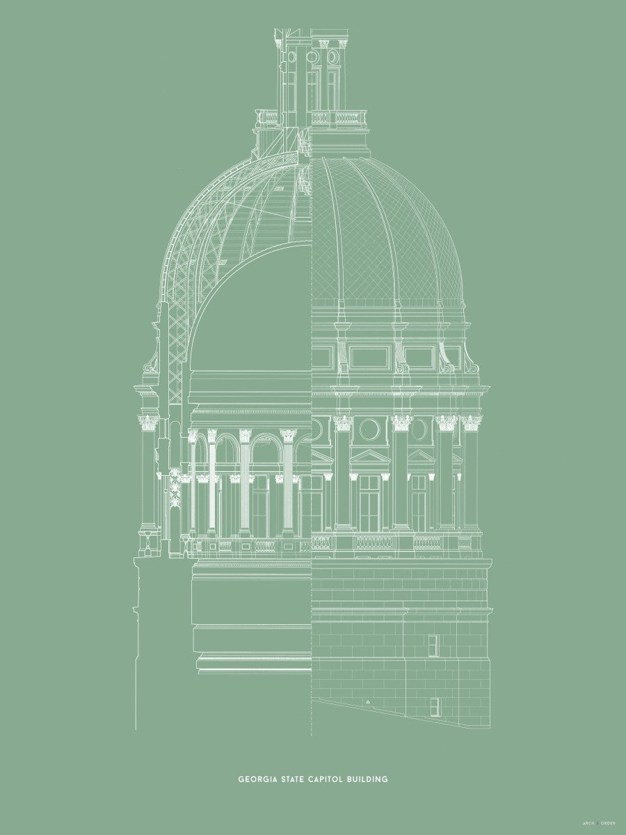The Georgia State Capitol Building - Dome Cross Section - Green -