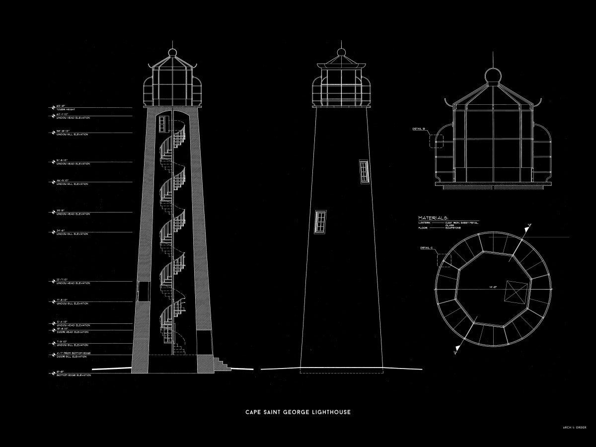 Cape Saint George Lighthouse - Southeast Elevation and Cross Section - Black -