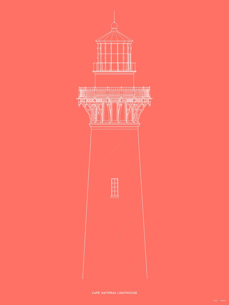 Cape Hatteras Lighthouse - North Elevation Detail - Red -