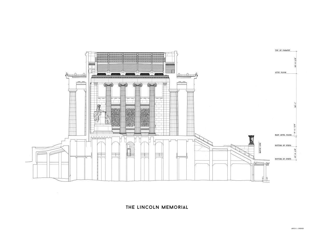 The Lincoln Memorial North Elevation Cross Section - White -