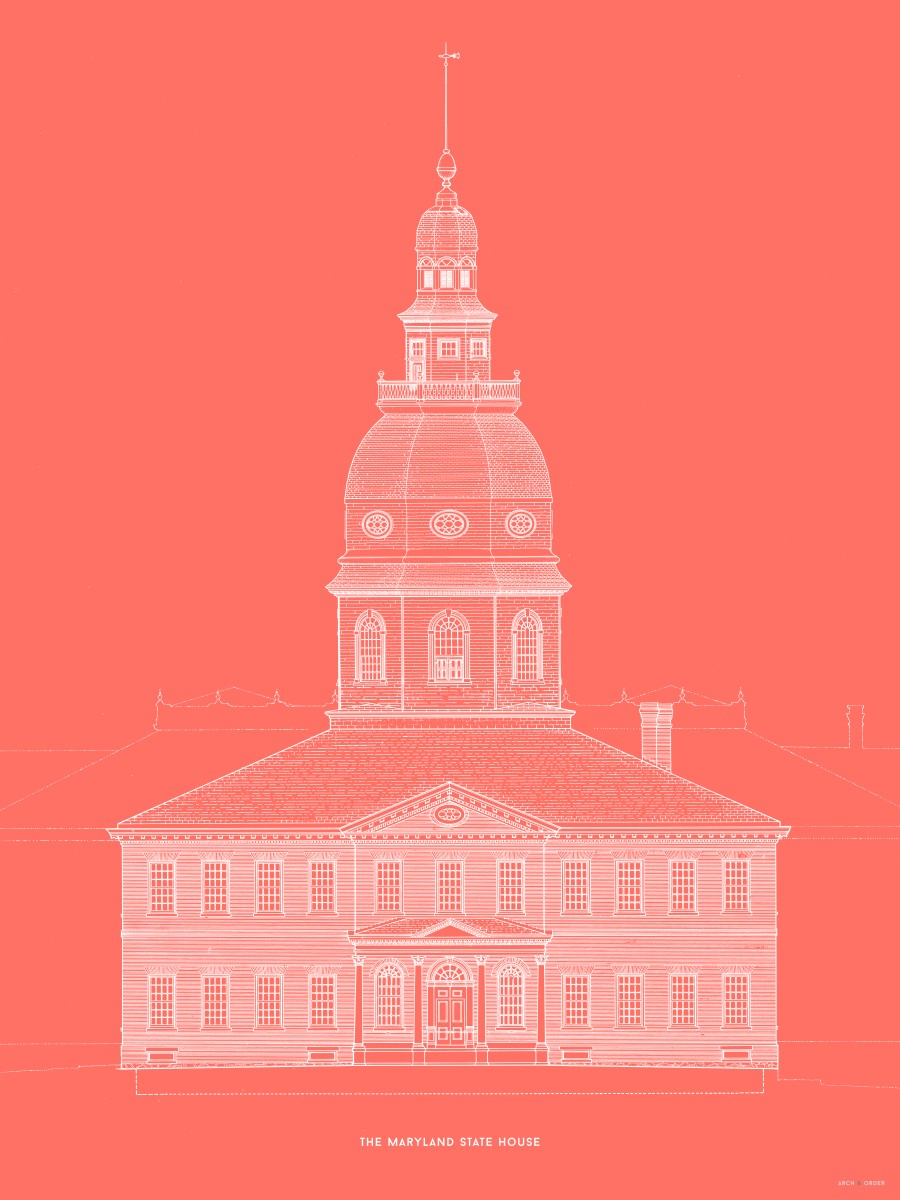 The Maryland State House - Southeast Elevation Detail - Red -