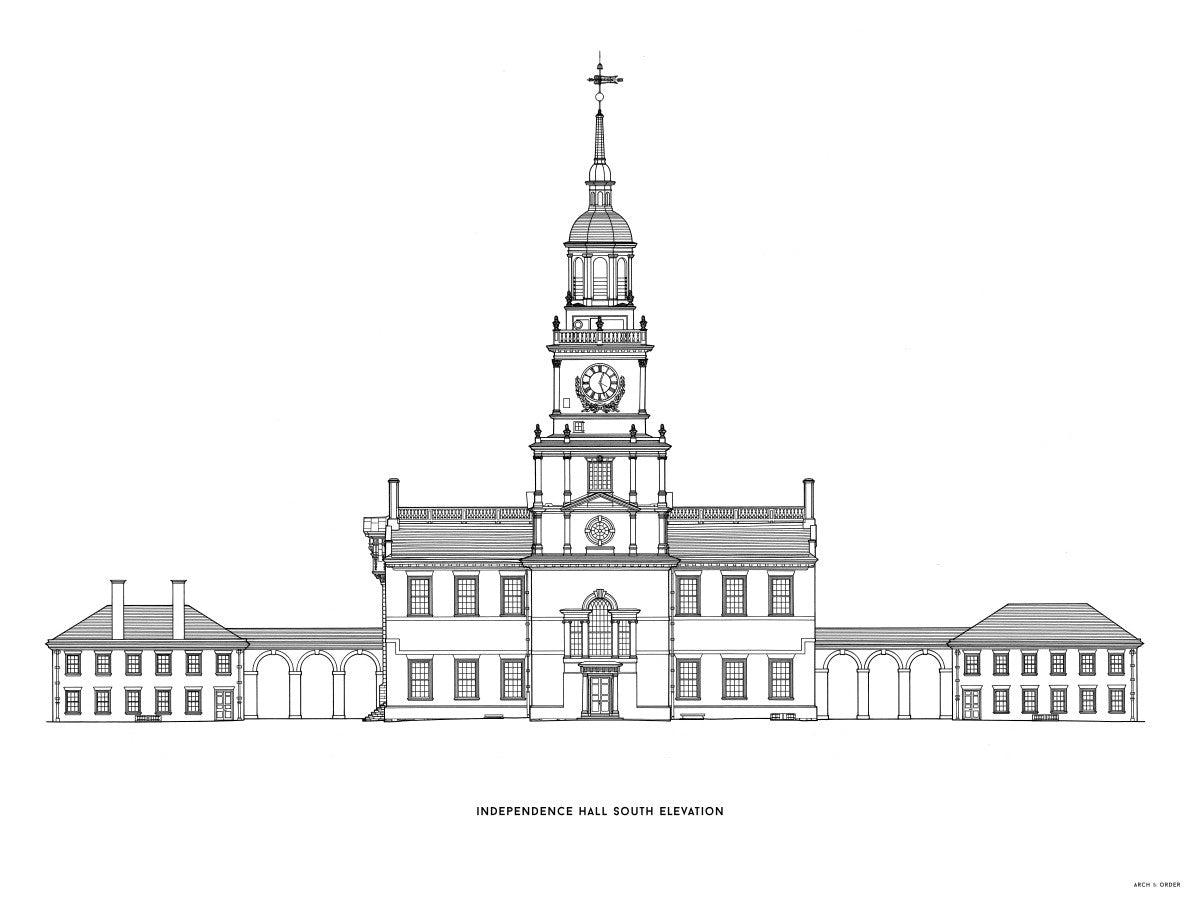 Independence Hall - South Elevation - White -