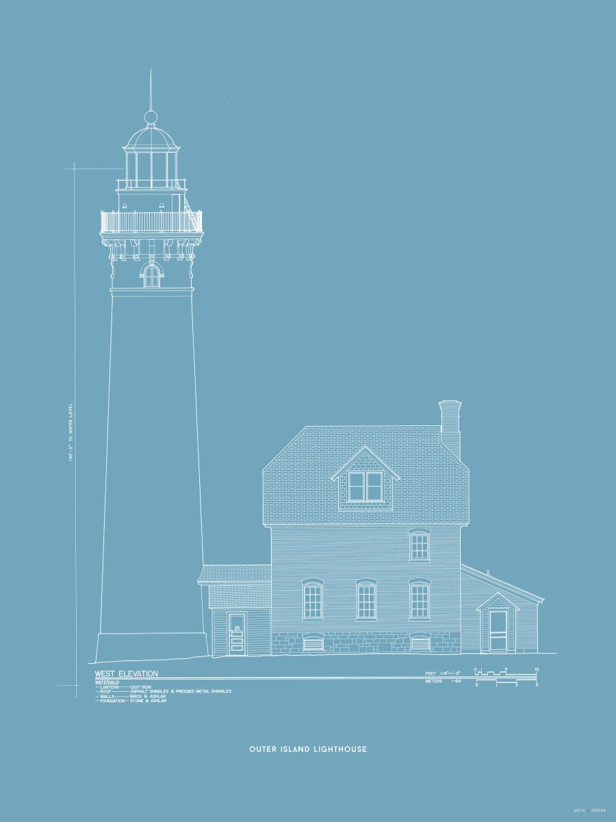 Outer Island Lighthouse - West Elevation - Blue -