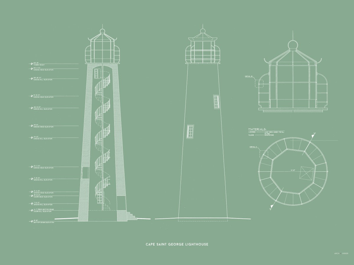 Cape Saint George Lighthouse - Southeast Elevation and Cross Section - Green -