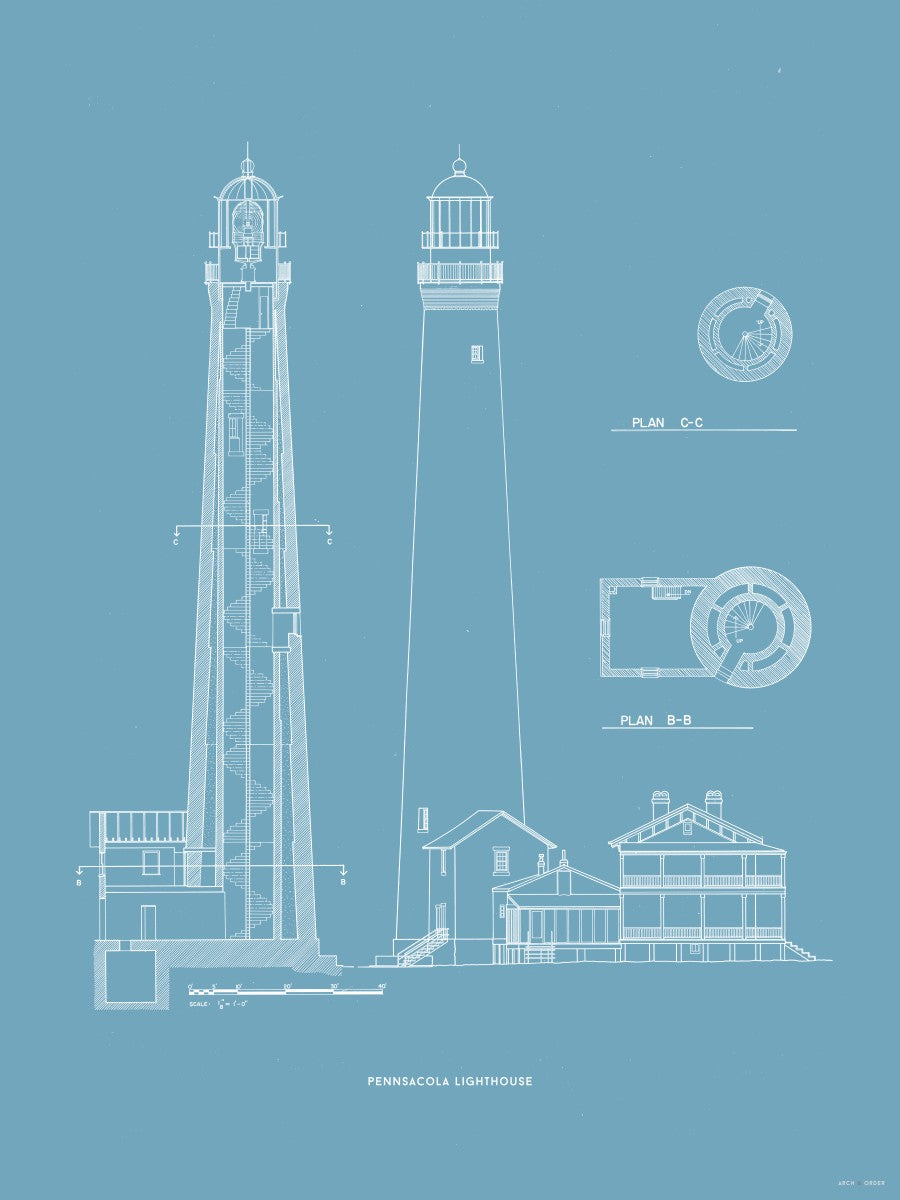 The Pensacola Lighthouse - West Elevation and Cross Section - Blue -