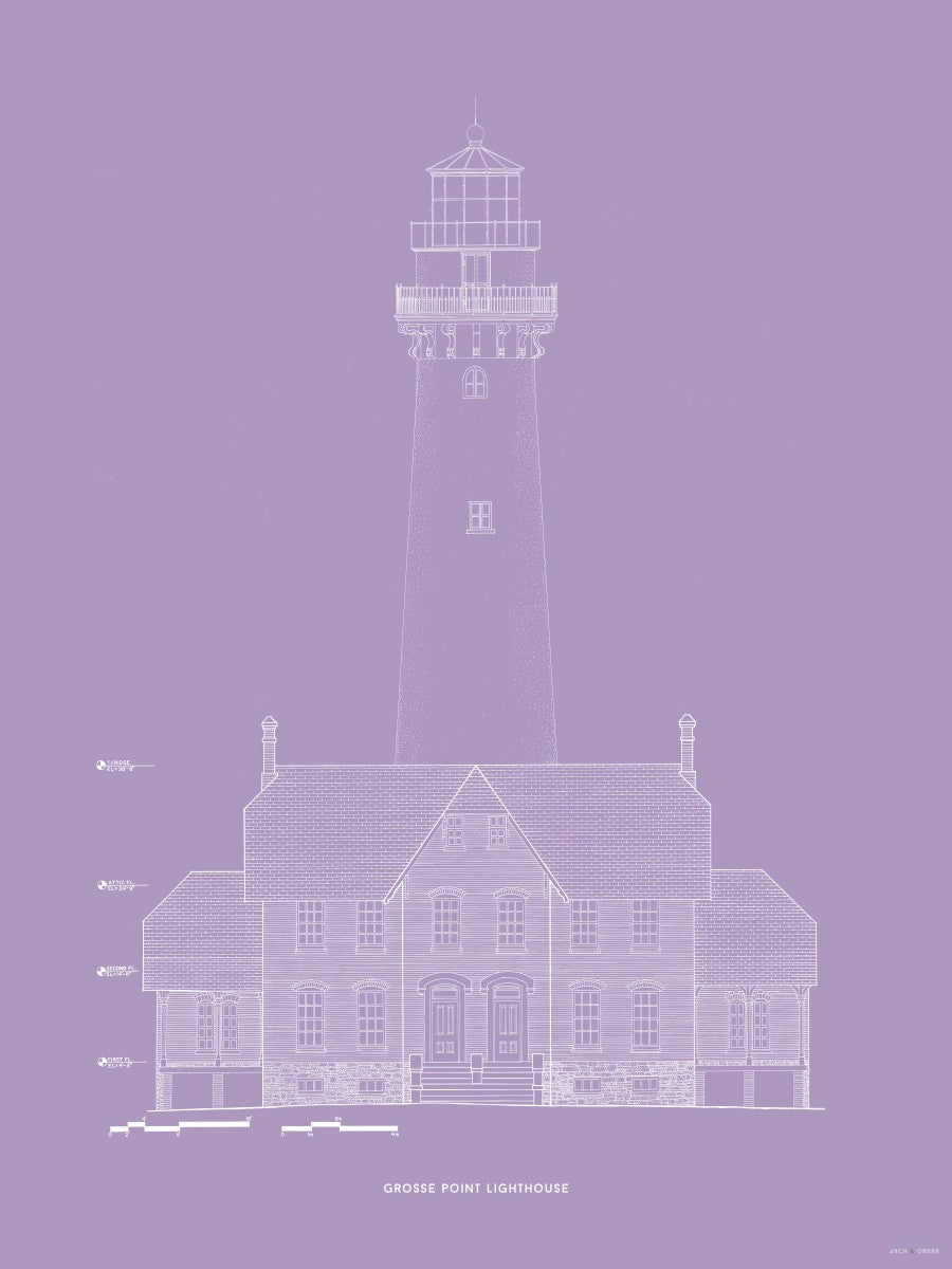 Grosse Point Lighthouse - West Elevation - Lavender -