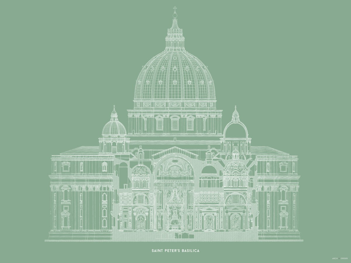 Saint Peter's Basilica - Primary Elevation Cross Section - Green -