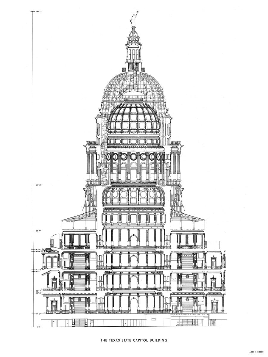 The Texas State Capitol Building - Rotunda Cross Section - White -