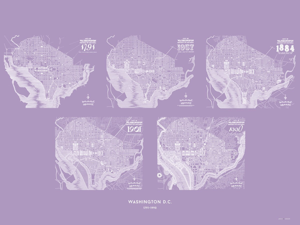 Washington D.C. L'Enfant-McMillan Plan 1791-1990 - Lavender -