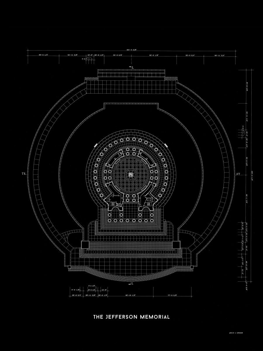 Jefferson Memorial Main Level Plan - Black -