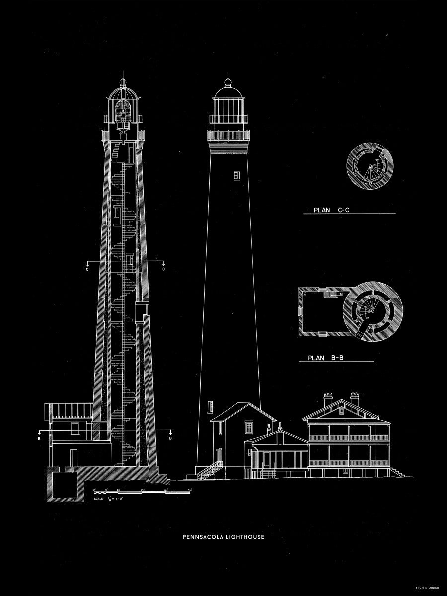 The Pensacola Lighthouse - West Elevation and Cross Section - Black -