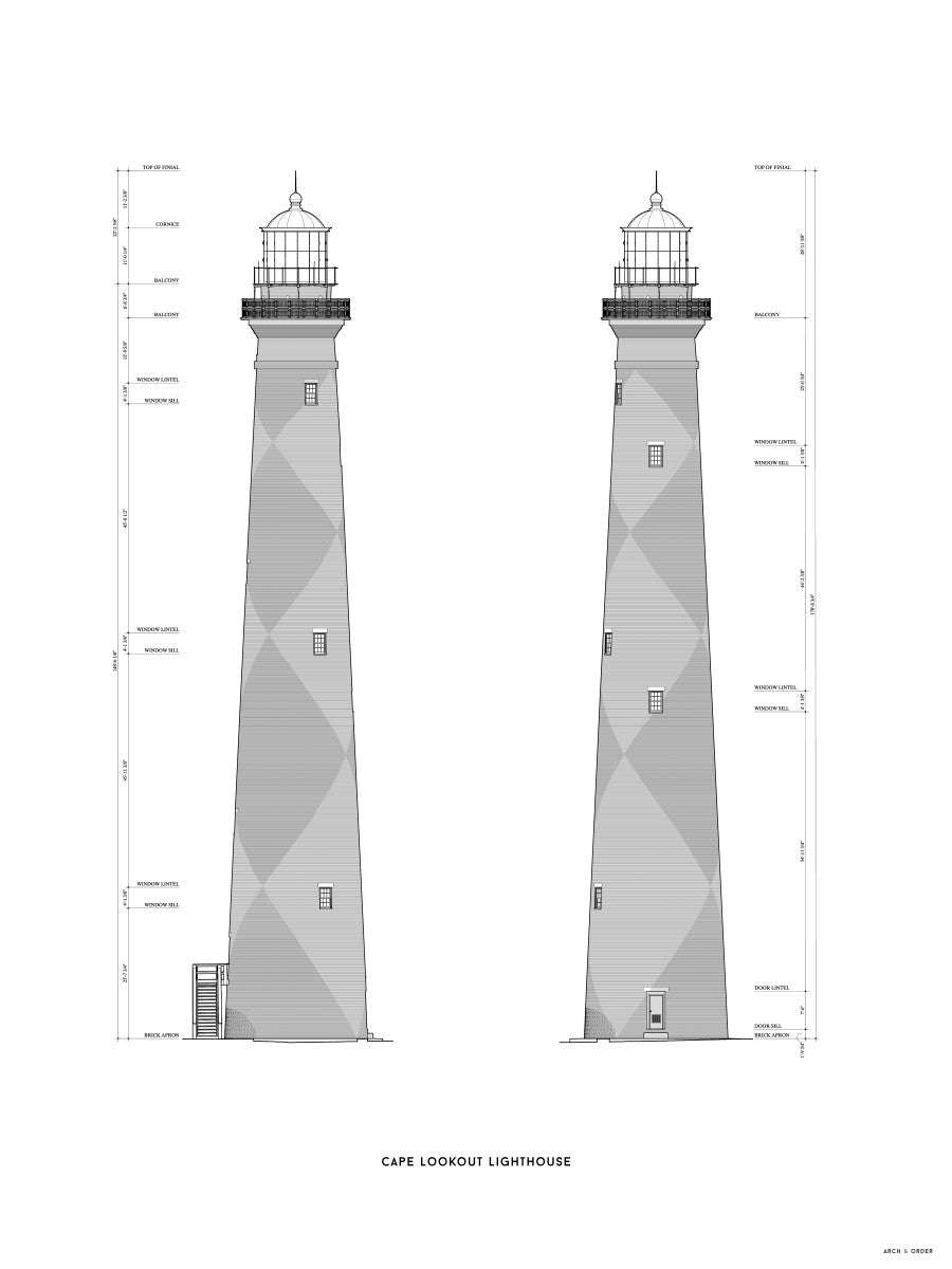 Cape Lookout Lighthouse - West and South Elevations - White -