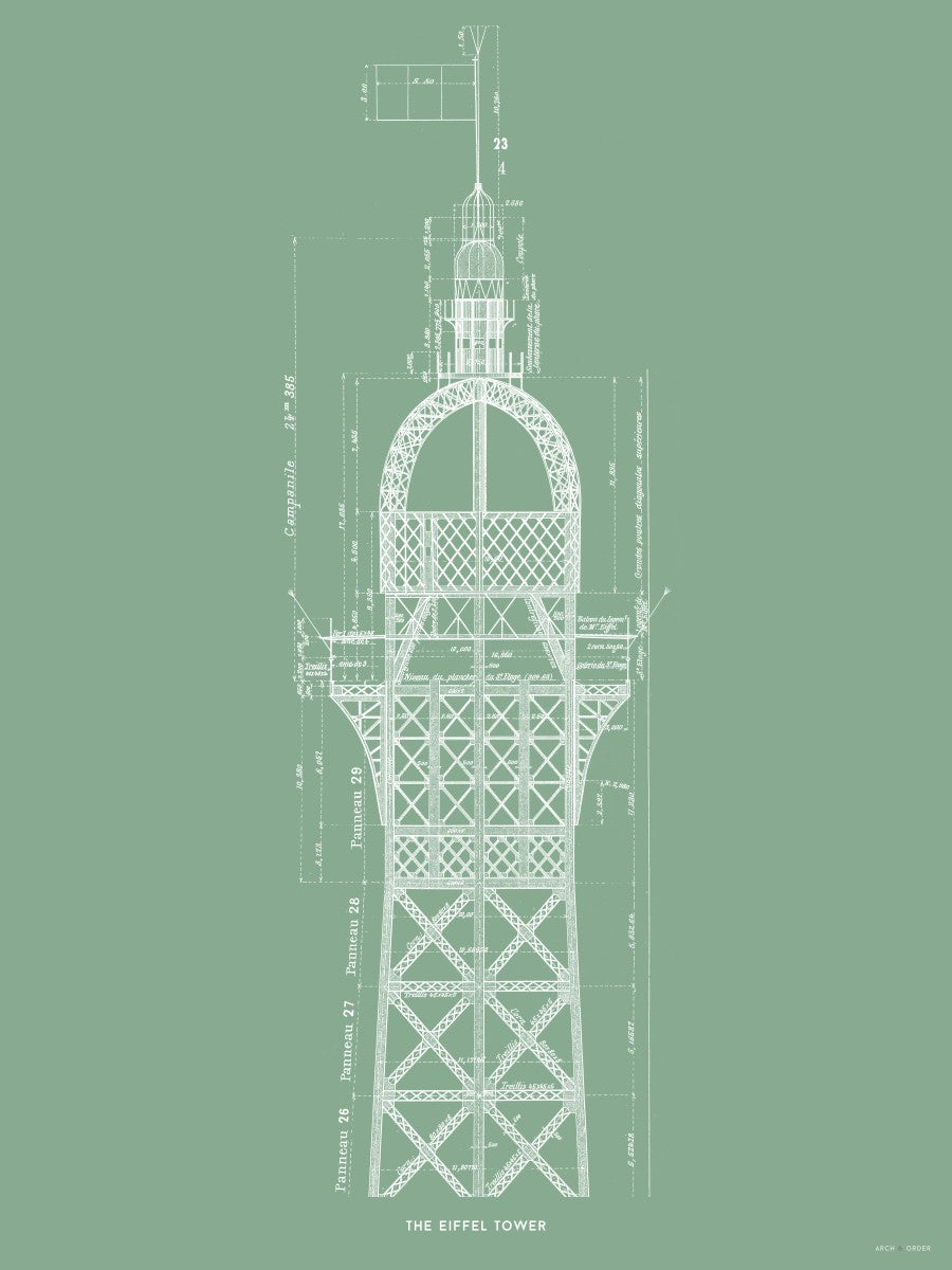 The Eiffel Tower - Top Cross Section - Green -