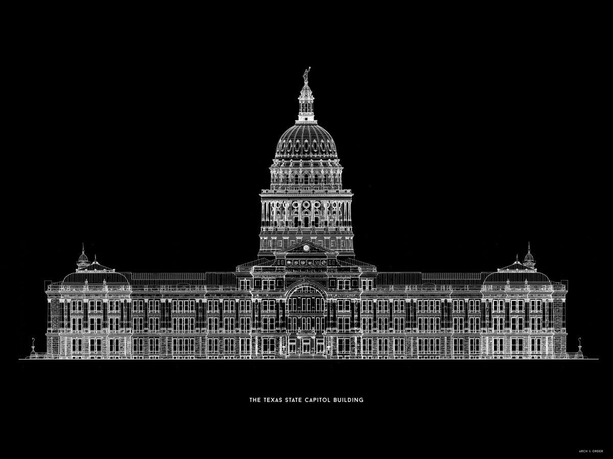 The Texas State Capitol Building - South Elevation - Black -
