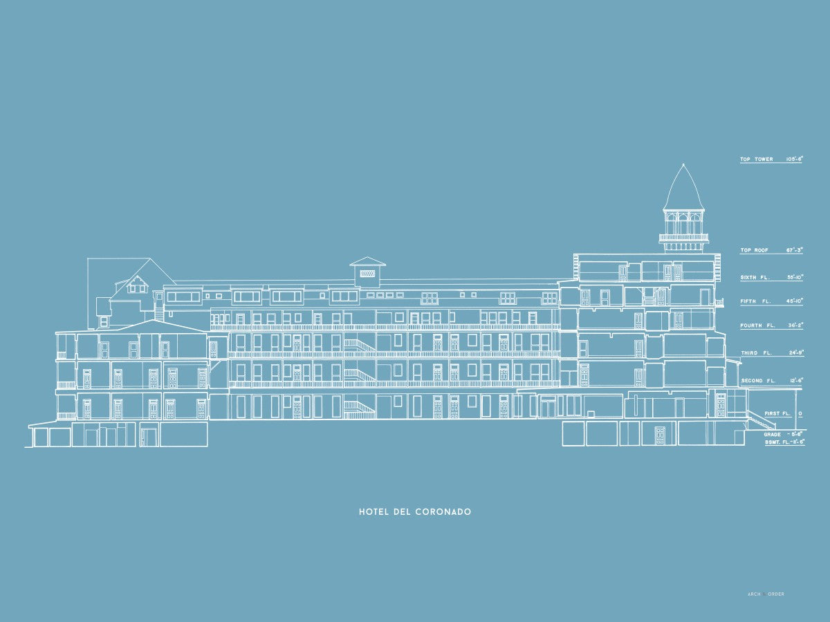 Hotel Del Coronado - Cross Section - Blue -