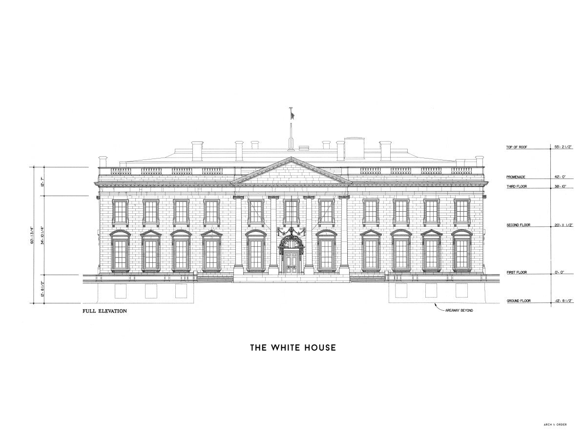 The White House North Elevation - White -