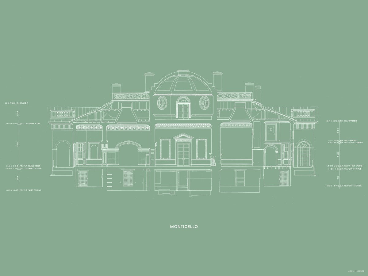 Monticello - West Elevation Cross Section - Green -