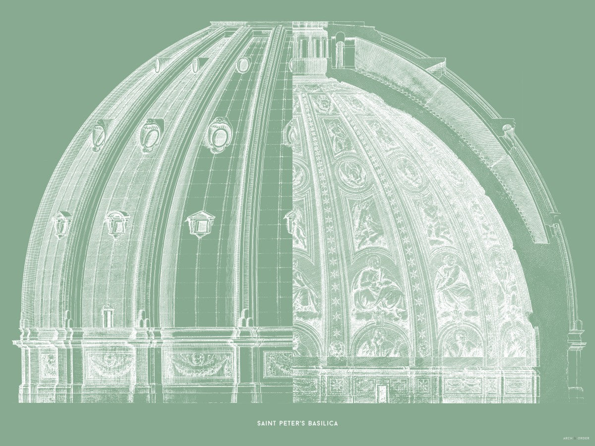 Saint Peter's Basilica - Dome Cross Section - Green -