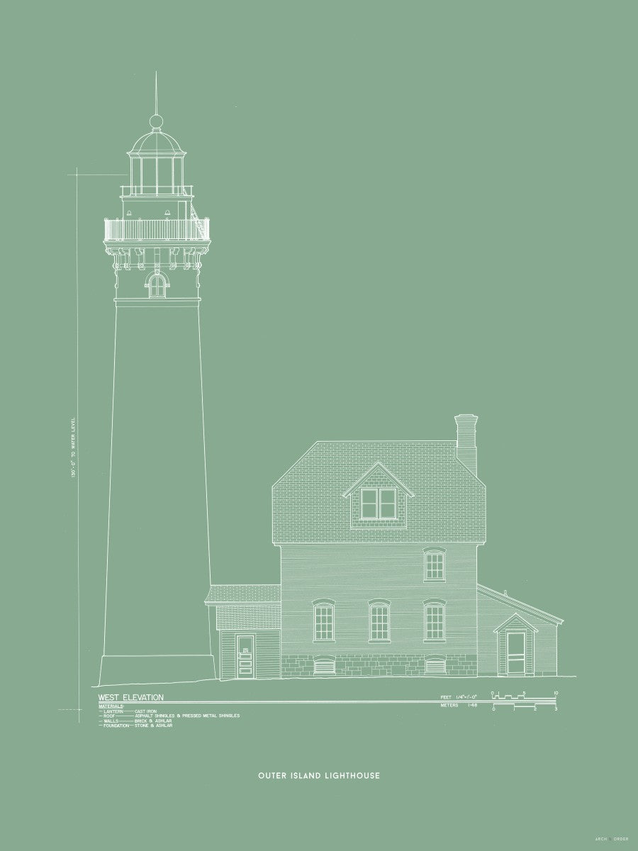 Outer Island Lighthouse - West Elevation - Green -
