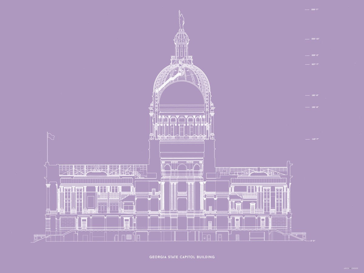 The Georgia State Capitol Building - North Elevation Cross Section - Lavender -