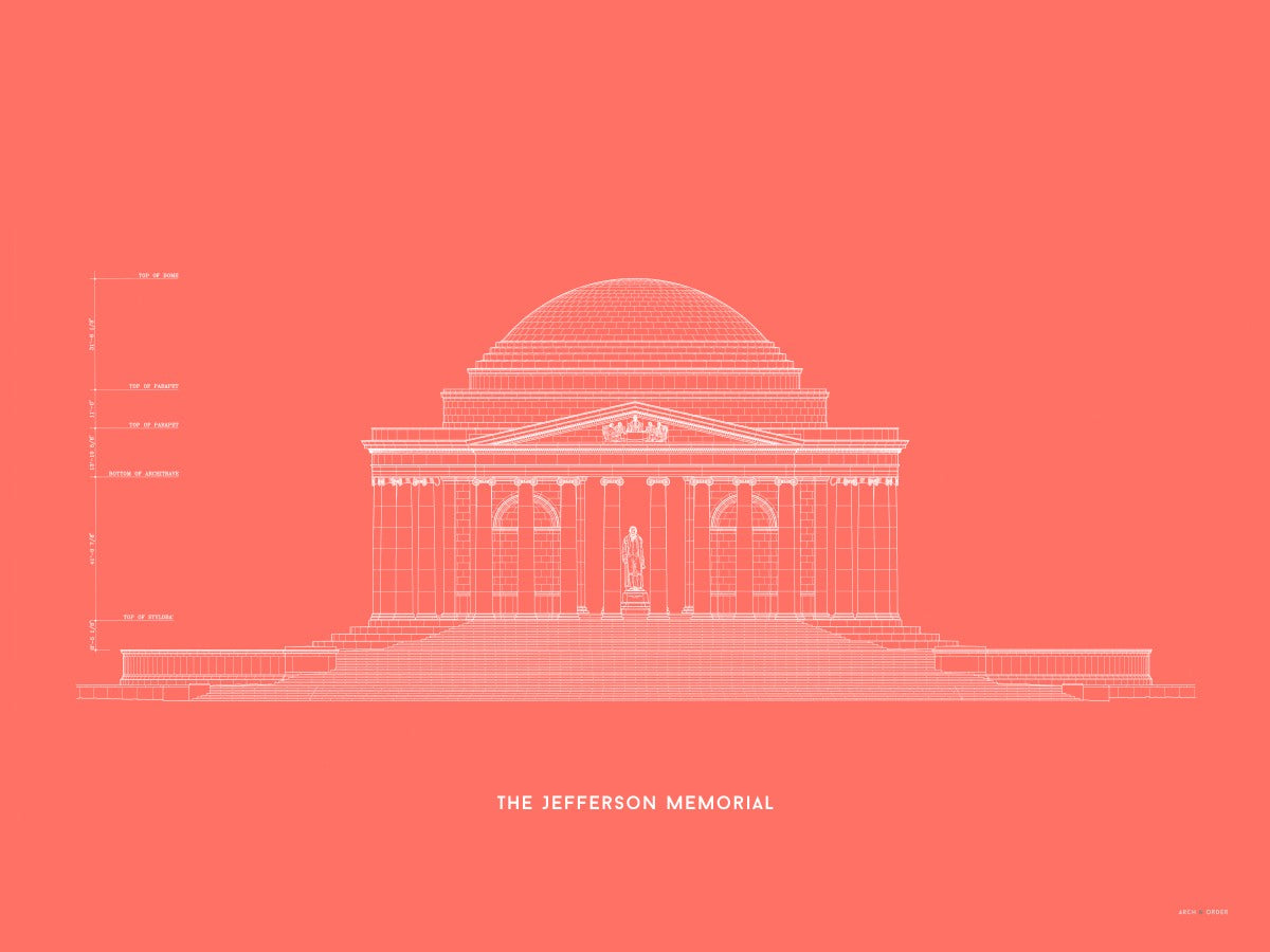 The Jefferson Memorial North Elevation - Red -