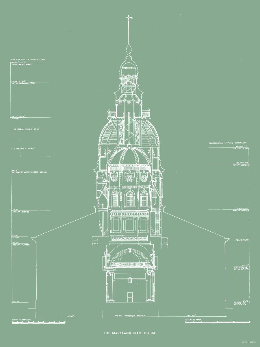 The Maryland State House - Northwest Elevation Cross Section - Green -