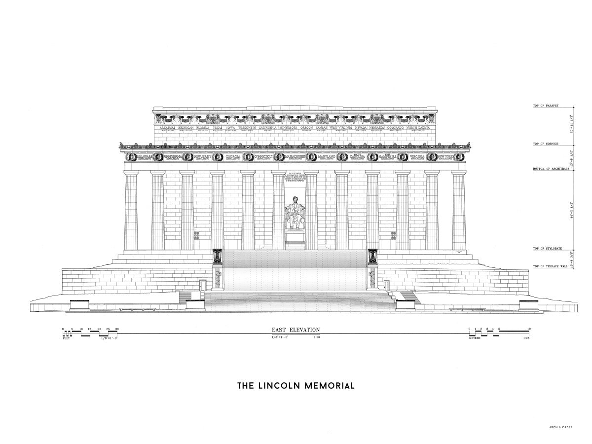 Lincoln Memorial East Elevation - White -