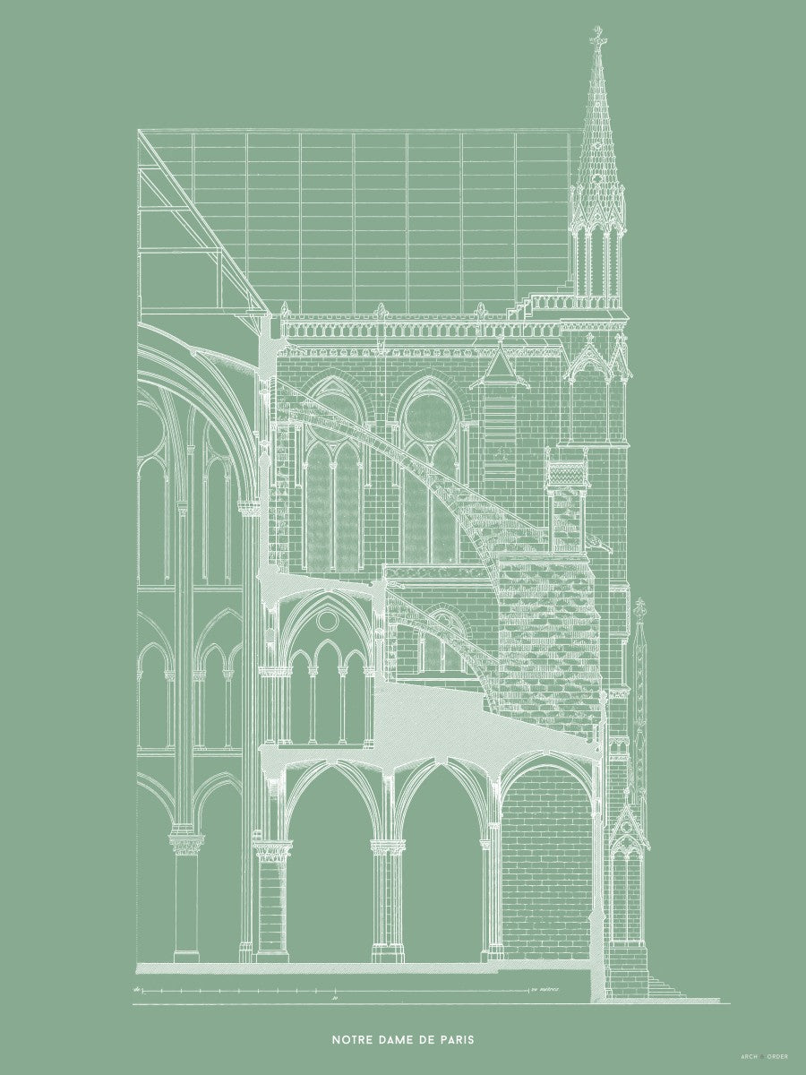 Notre Dame de Paris - Buttress Cross Section - Green -