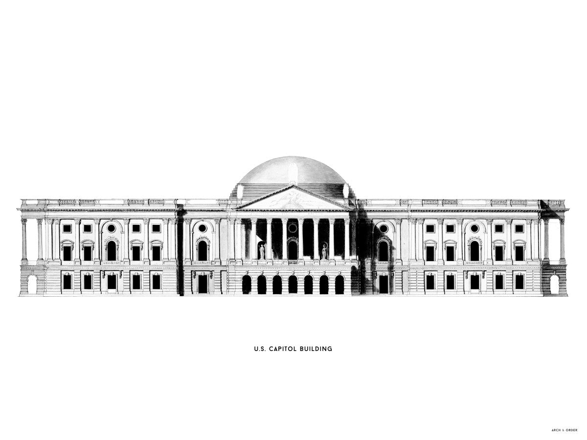 The U.S. Capitol Building - 1793 East Elevation - White -