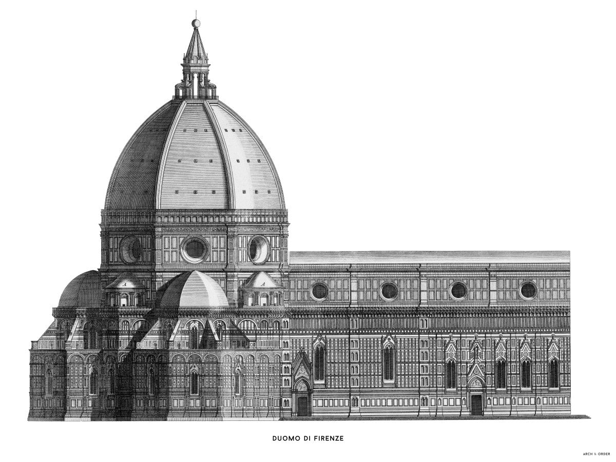Duomo di Firenze - Transverse Elevation - White -