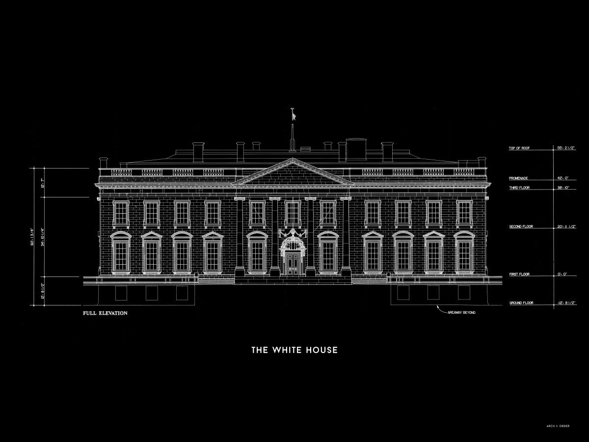 The White House North Elevation - Black -