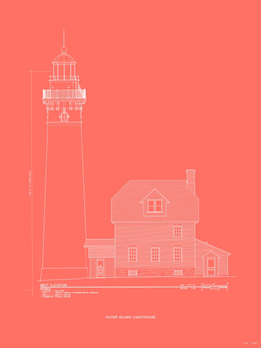Outer Island Lighthouse - West Elevation - Red -