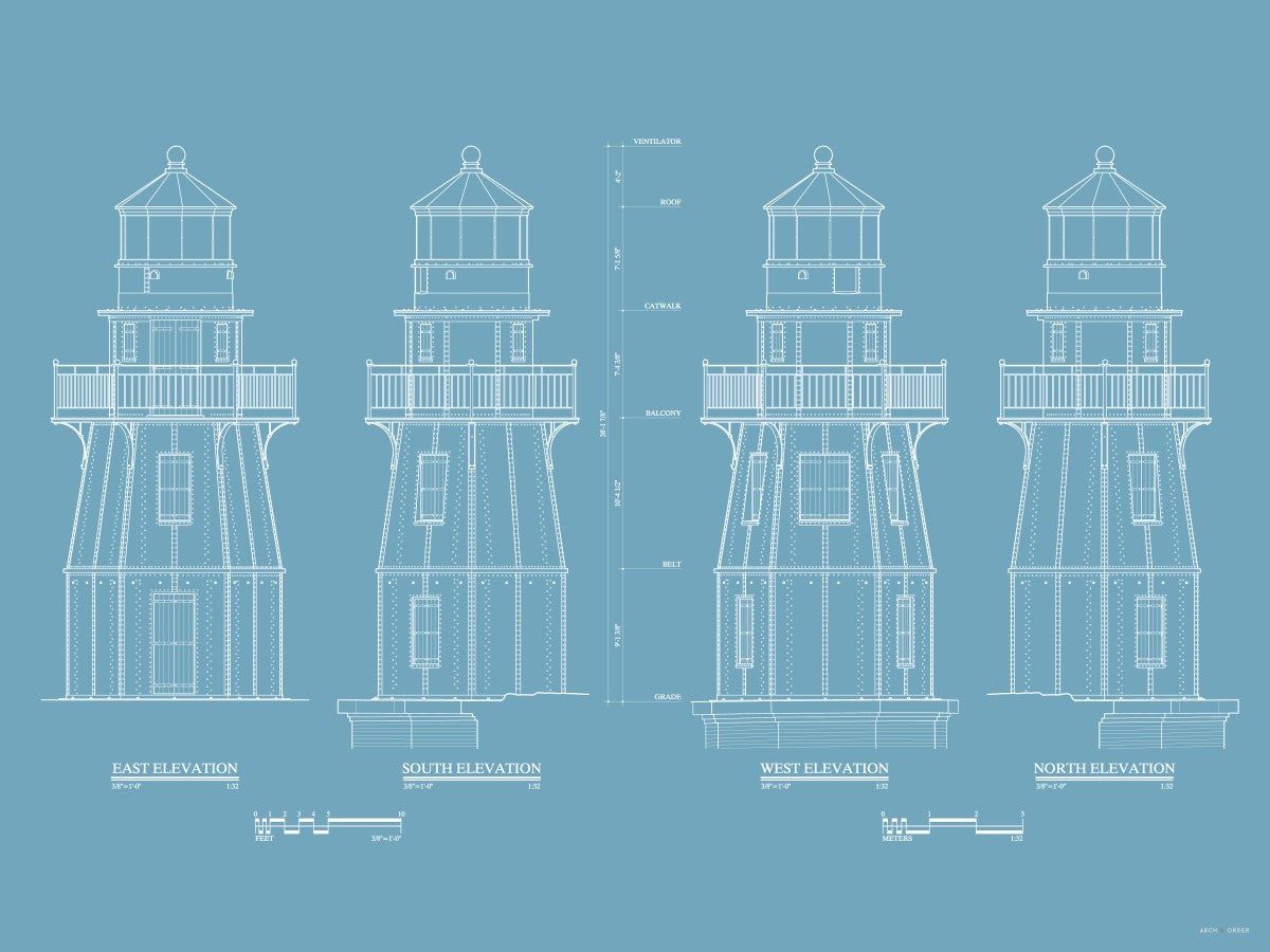 Fort Jefferson - Tortugas Harbor Lighthouse - Elevations - Blue -