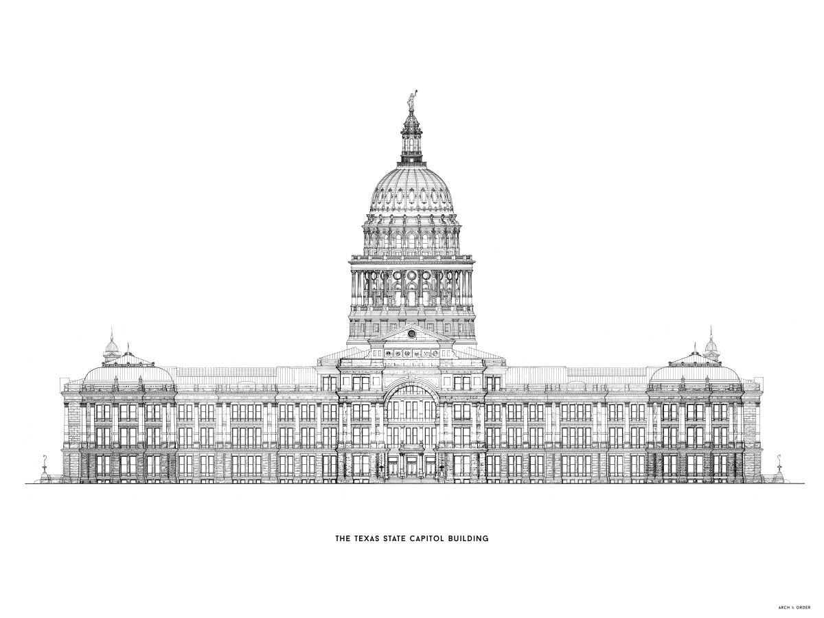 The Texas State Capitol Building - South Elevation - White -