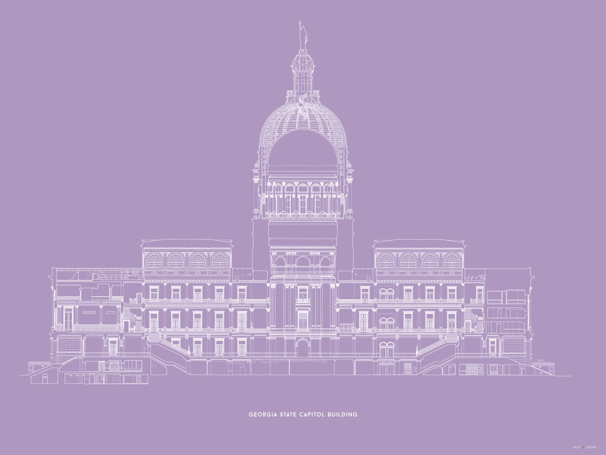 The Georgia State Capitol Building - West Elevation Cross Section - Lavender -