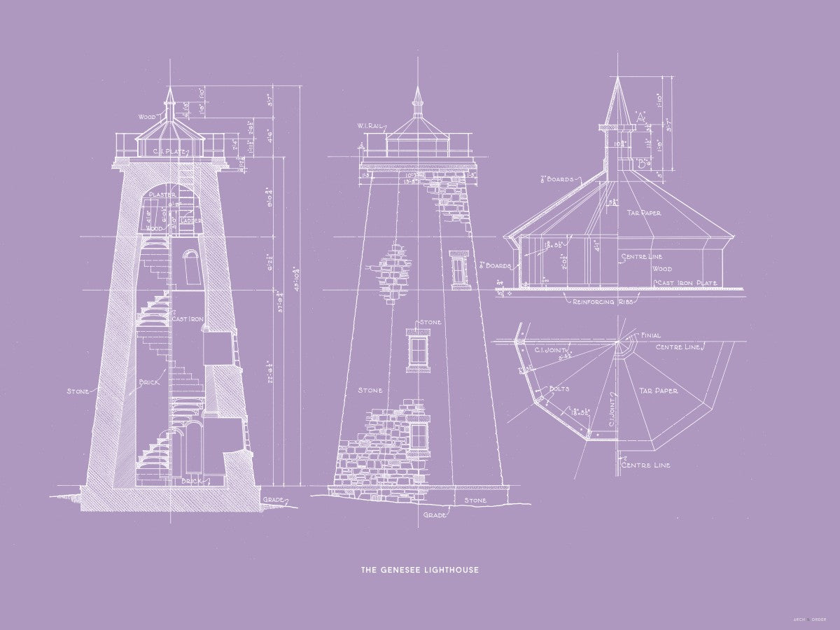 The Genesee Lighthouse - South Elevation and Cross Section - Lavender -