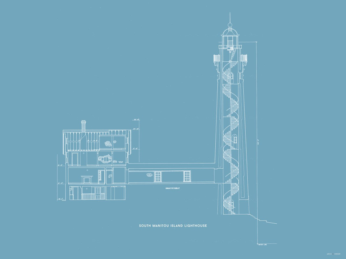 South Manitou Island Lighthouse - Cross Section - Blue -